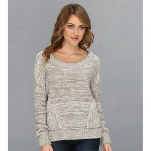 Free People Falling Star Pullover M Dropped Gray